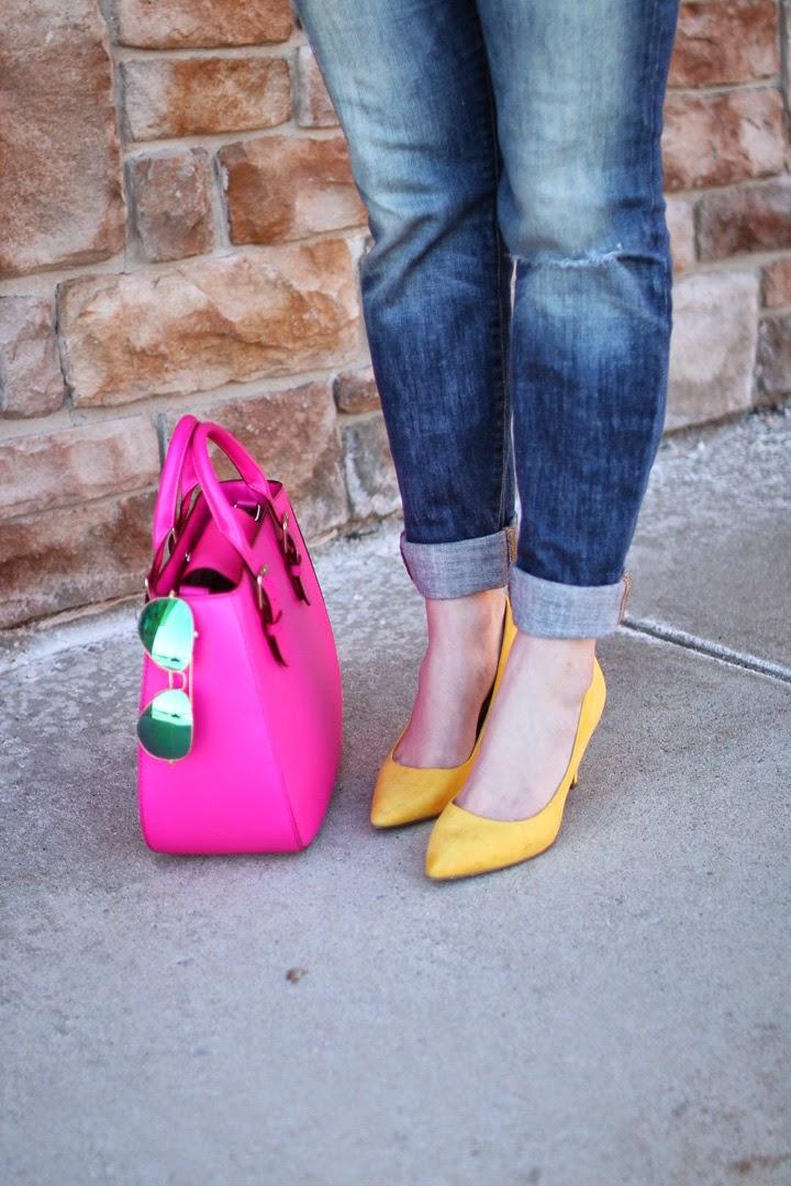 blogger fashion boston, boston fashion blogger, style blog, yellow heels, kate spade charlotte street sylvie satchel, pink kate spade satchel, little black sweatshirt, on the blog, blogger style