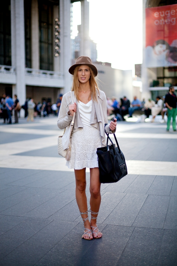 Alysha Triantafillou new york fashion week, bloundes cream skirt crop cardigain rap sandles girls in hats, gladiator flat sandles street style new york september 2013 nyfw mbfw angel david verde angels point of view