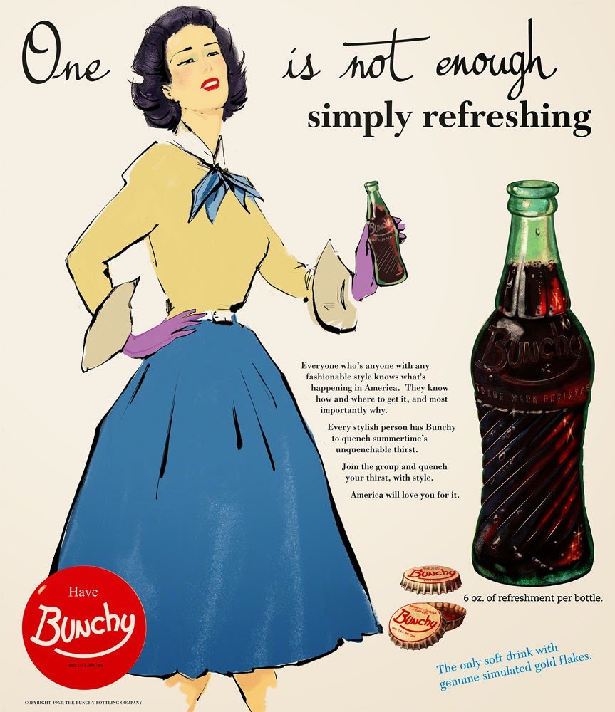 Bunchy ad - One is not enough - retro advertisement - design and illustration by Cesare Asaro - Curio & Co. - Curio and Co. OG - www.curioandco.com