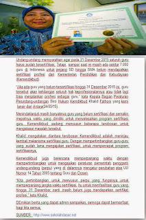 Guru harus Tersertifikasi Dari Kemdikbud batas Akhir 31 desember 2015