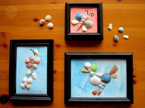 Artesanato com conchas - quadrinhos passo a passo