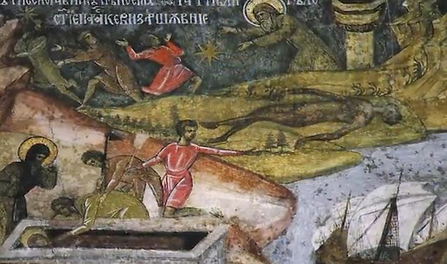 Τοιχογραφία που παριστάνει τον πνιγμένο δυσώδη ναύτη και την ανεύρεση του αδιάφθορου σώματος της Οσίας Παρασκευής της Επιβατινής ή Νέας. http://leipsanothiki.blogspot.be/