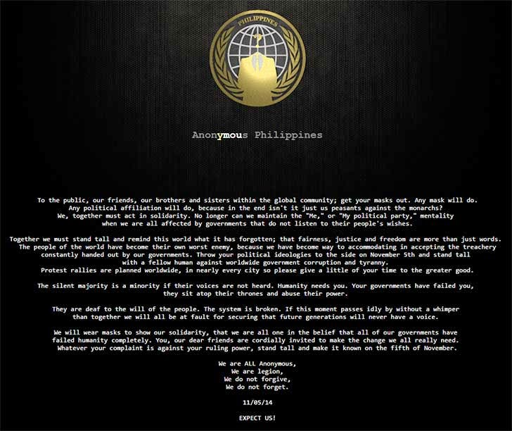 Anonymous Philippines Hacks Government Websites