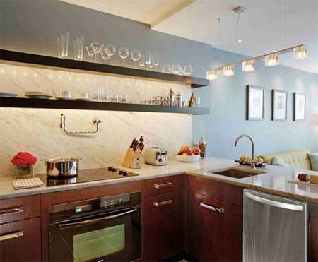 Decoraci n de interiores estantes de cocina for Estantes para cocina pequena