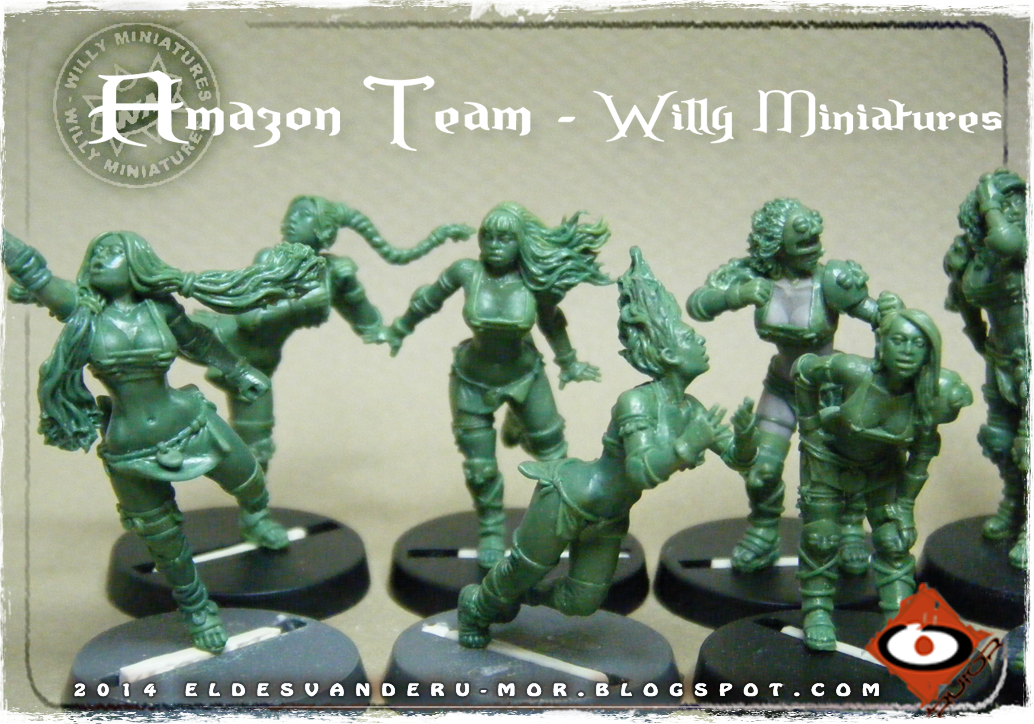 Foto de varias miniaturas del Equipo Blood Bowl de Amazonas de WILLY Miniatures hechas por ªRU-MOR. Catcher, Blitzers and linewoman, fantasy football