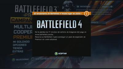 Anuncio de Battlefield 4 en el menu principal de Battlefield 3