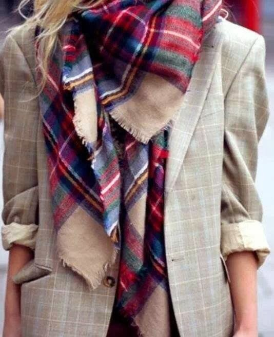 Amazing  Oversized Colorful Striped Scarf with Fashionable Beige Jacket, Love It