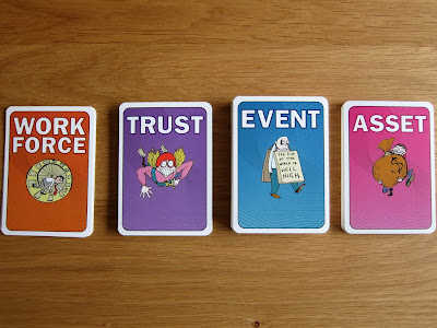 Crunch - The four card types in the game, Workforce, Trust, Event and Asset