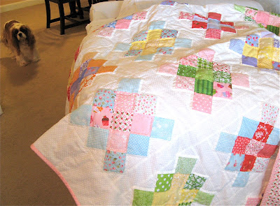 Granny Square Quilt with Emma the dog