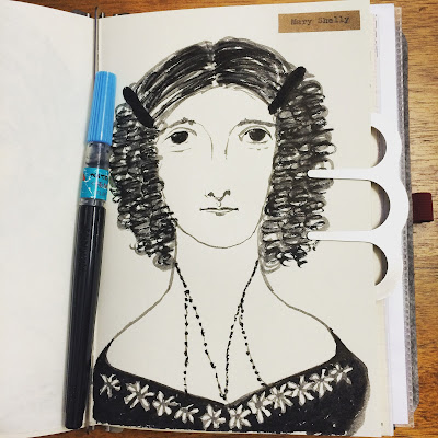 Mary Shelly ink drawing
