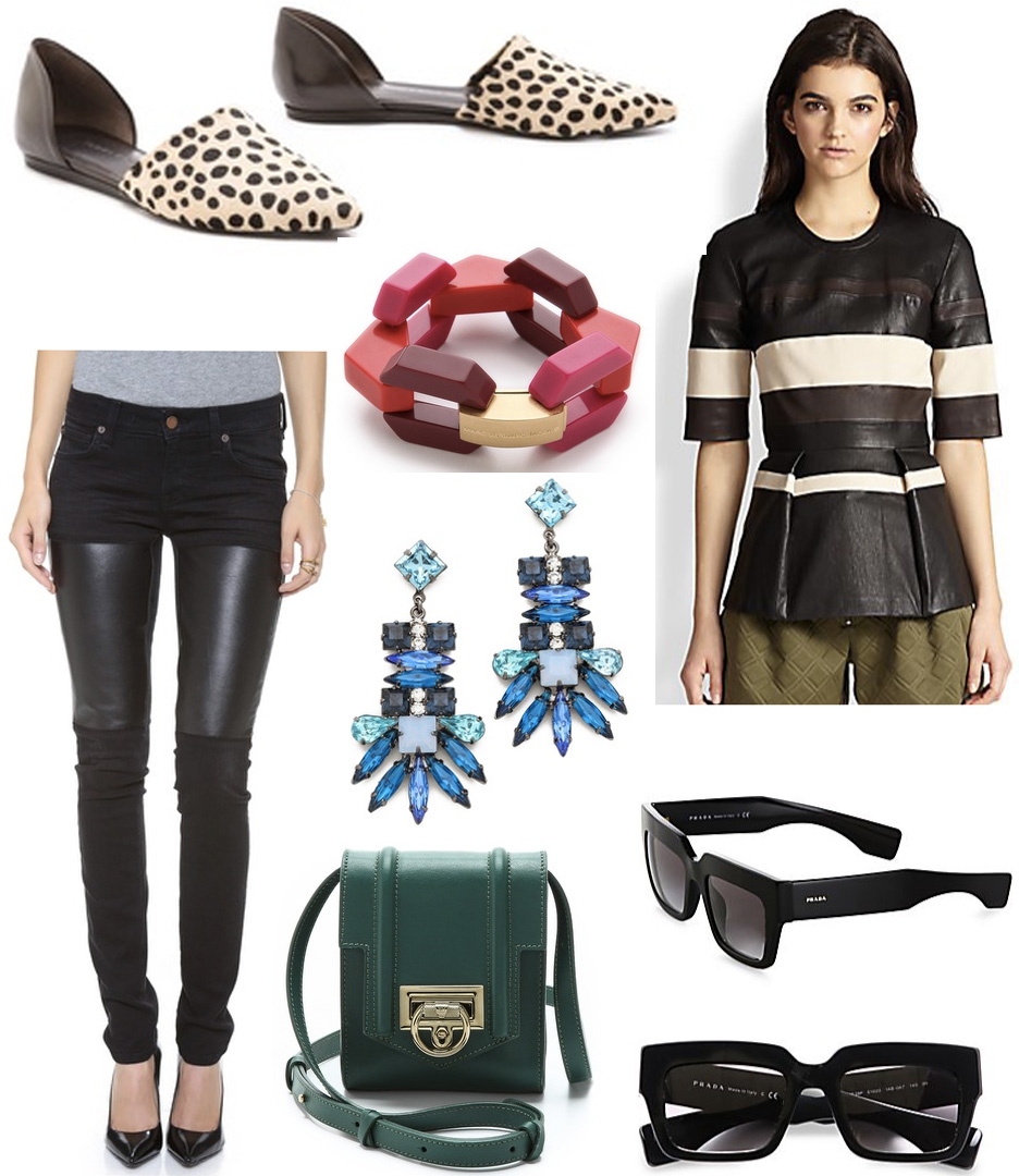 ootd, prada sunglasses, leather pants peplum top, womens style, womens fashion