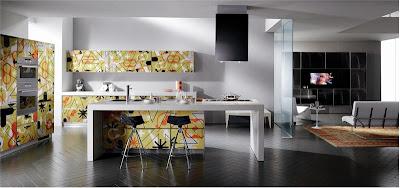 Фотопечать на кухонном гарнитуре модели Crystal Texture от фабрики Scavolini, дизайн Rashid Karim.