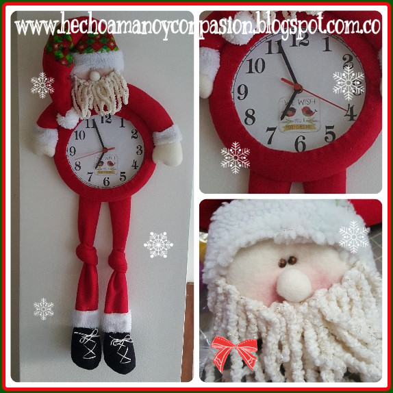 reloj de navidad en tela