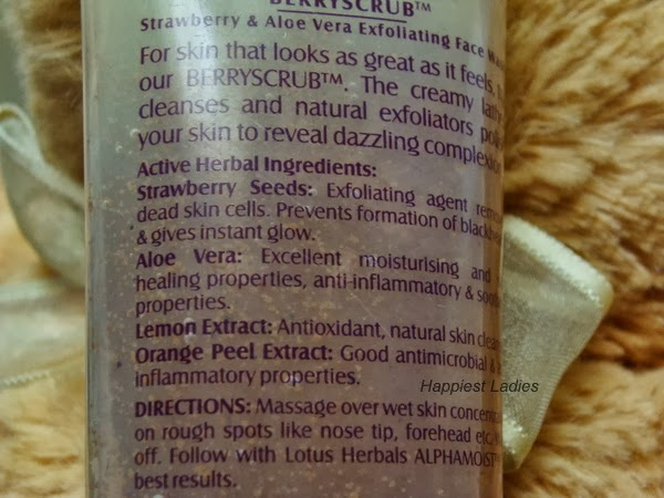 Lotus Herbals BerryScrub Strawberry and Aloevera Exfoliating Face Wash Description+skincare
