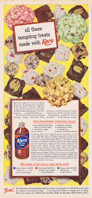 A 1950 Karo Syrup ad with a recipe for popcorn balls.