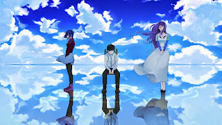 Touka Kirishima, Kaneki Ken oraz Rize Kamishiro na tle nieba