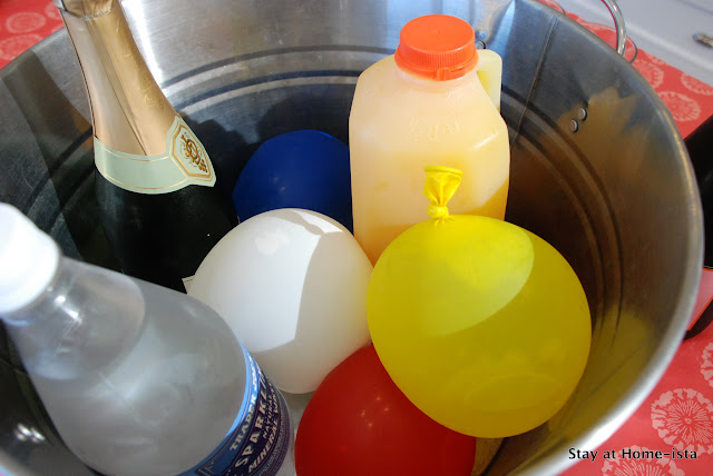 rainbow water balloons frozen to keep drinks cool