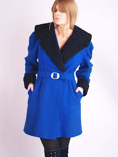 Vintage 1940's bright blue belted wool coat with black Persian lamb fur collar and cuffs.