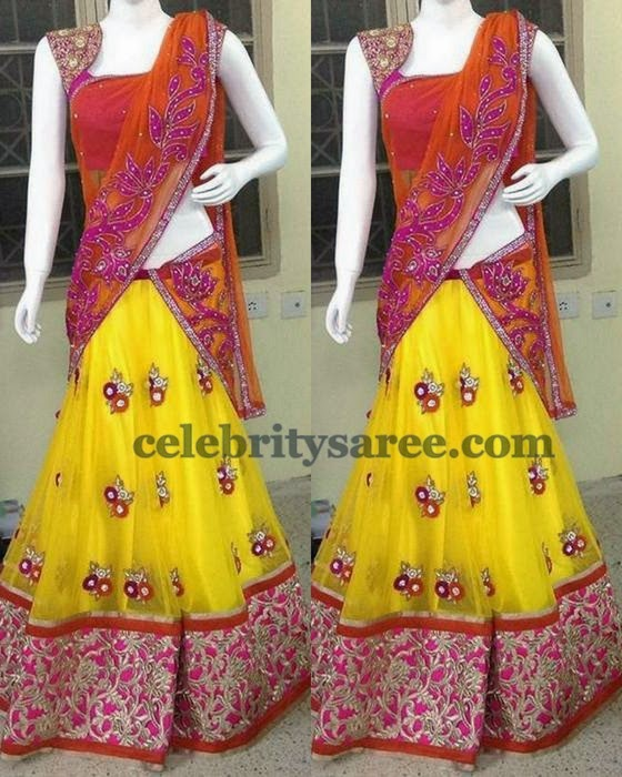 Yellow Orange Half Saree by Shashi