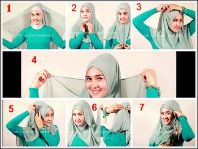 Tips memakai jilbab segi empat