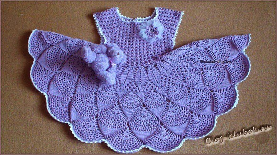 Vestido azul de bebé a Crochet