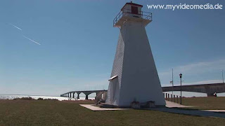 Confederation Bridge with lighthouse