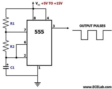 Rangkaian Astable dengan IC 555