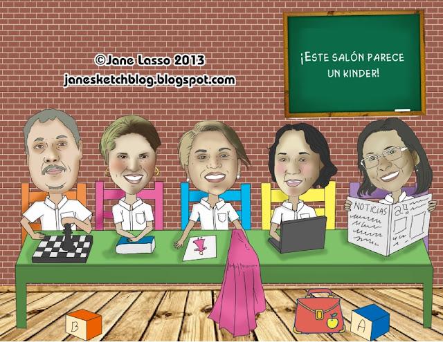 Caricatura grupal en escuela