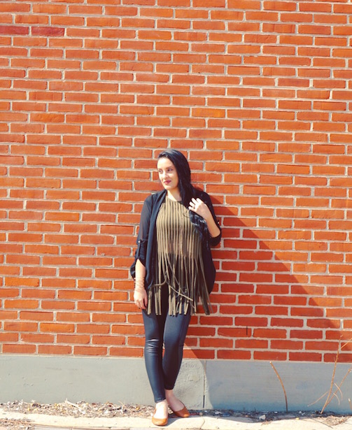 Fringe-+-Faux-Leather-Panel-Pants-+-Cardigan-#‎OOTD
