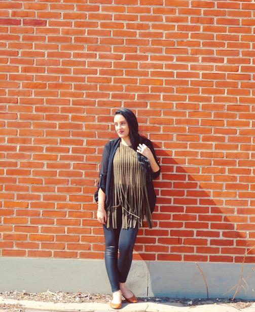Fringe-+-Faux-Leather-Panel-Pants-+-Cardigan-#OOTD