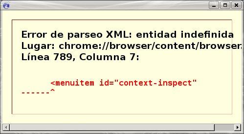 pantalla de error de parseo XML