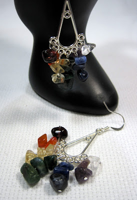 Rainbow Stone Chip Earrings