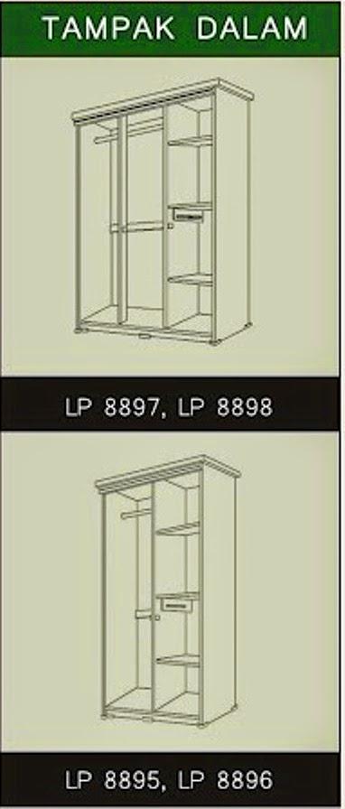 Tampak Dalam Lemari Pakaian Black Lotus Series Popular Furniture