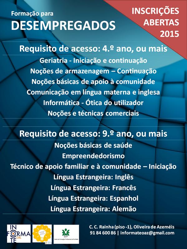 Formação subsidiada para desempregados – Oliveira de Azeméis 2015