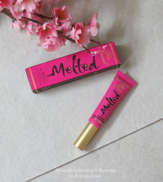 Too Faced Melted Liquified Long Wear Lipstick Melted Fuchsia Review, Swatch, Pictures & Price, Indian makeup blog, Indian beauty blog, Makeup and beauty blog india, Melted lipstick shades and swatches, Too faced melted lipstick review ans swatches India, where to buy too faced melted lipstick in India, Bright lipstick, Fuchsia lipstick review and swatch, Liquid lipstick