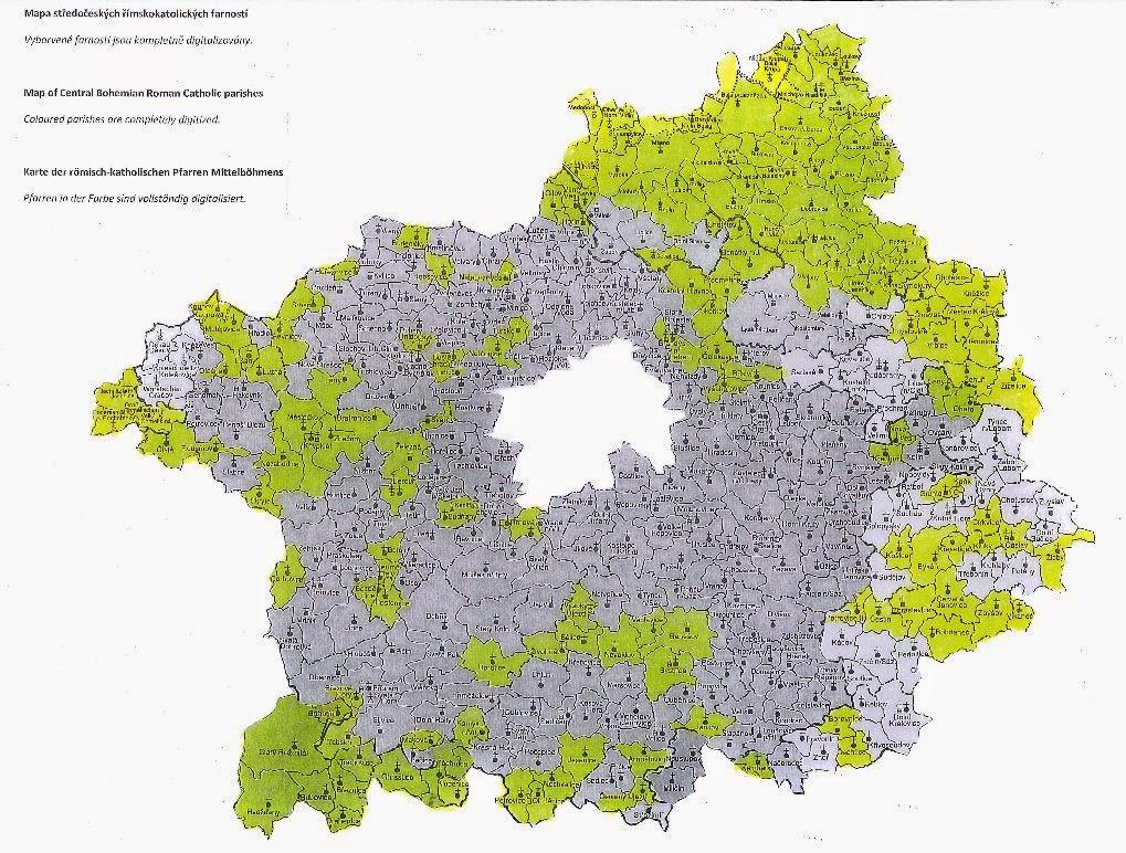 Czech Genealogy for Beginners: SRA Prague: Map of digitized parishes