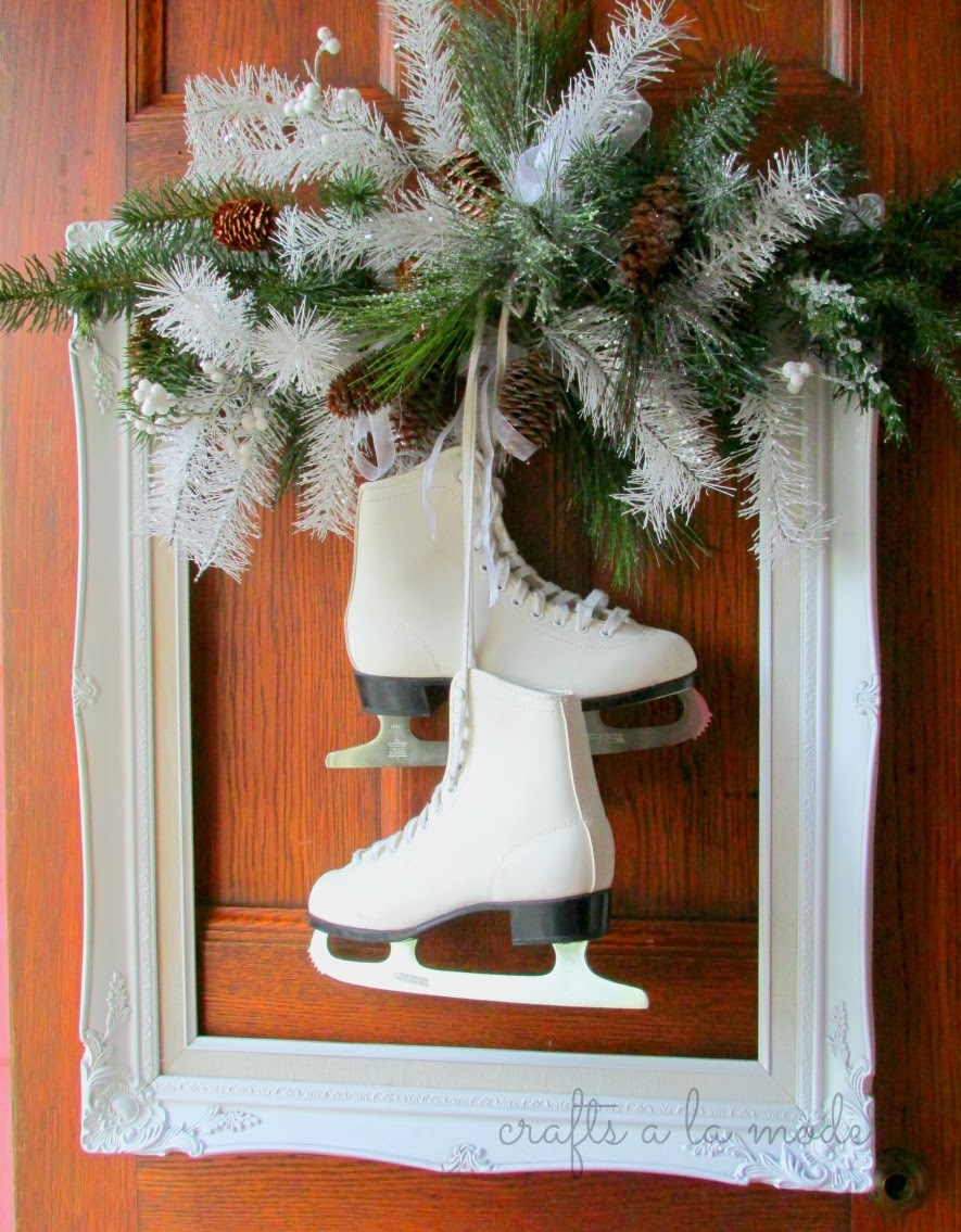 Winter White Wreath with Ice Skates | Crafts a la mode