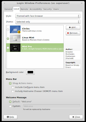 customize login screen theme in Linux Mint 13