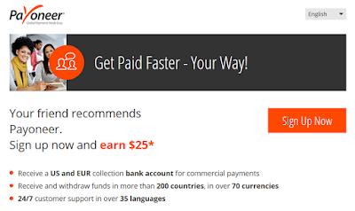 Register Payoneer Get Earn $25