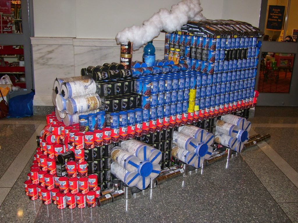 simply creative canned food sculptures of canstruction