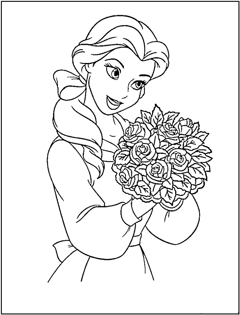 Beauty and the beast belle coloring pages download kids for Belle coloring pages