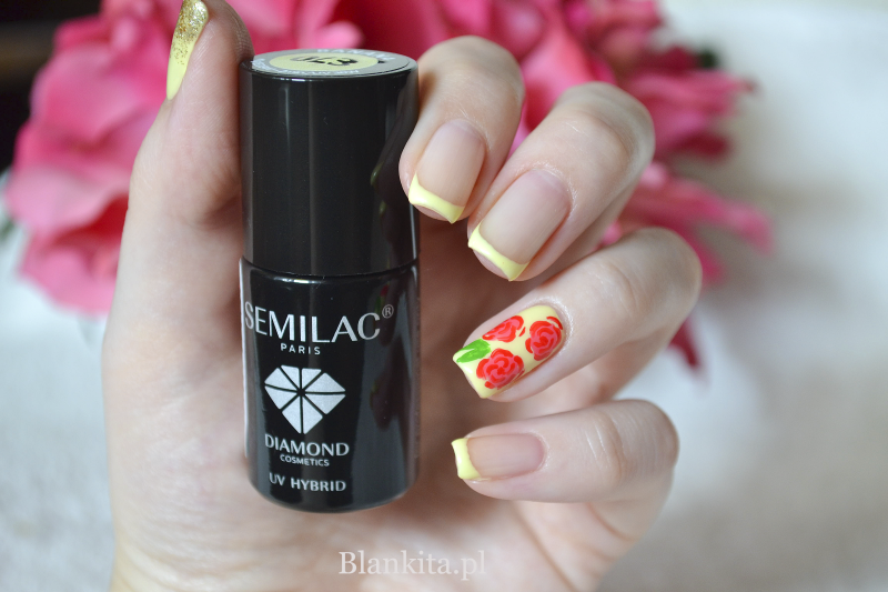 lakier hybrydowy, semilac, diamond cosmetics, banan, zolty french, yellow manicure, yellow french, bananowy lakier