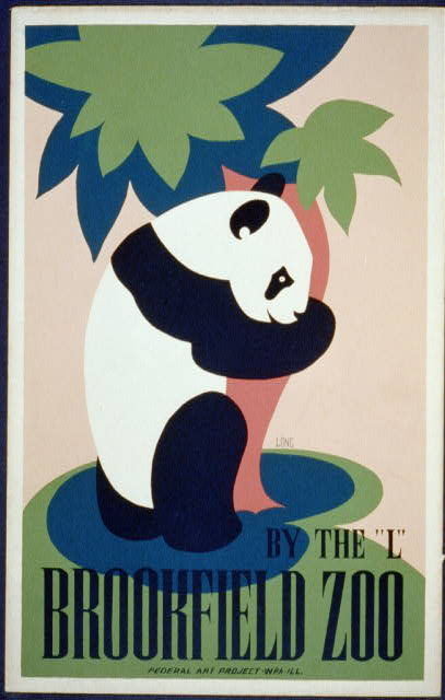animal poster, wildlife, federal art project, wpa, vintage, vintage posters, graphic design, free download, retro prints, classic posters, Panda, By the L Brookfield Zoo - Vintage Animal Poster
