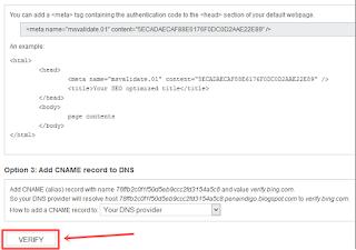 cara Verifikasi Blog ke Bing Webmaster Tools