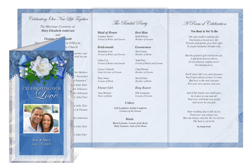 Celebration of life store printable wedding programs with for Free celebration of life program template