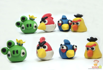 clay angry bird blue bird yellow bird red bird  green pig handcrafts arts creative DIY