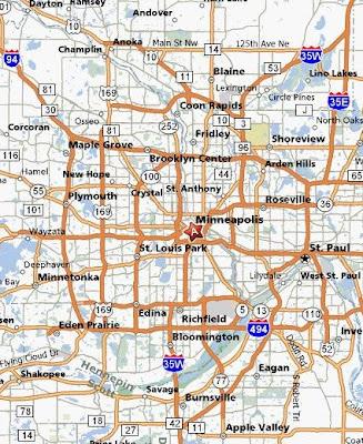 Road map of Minneapolis