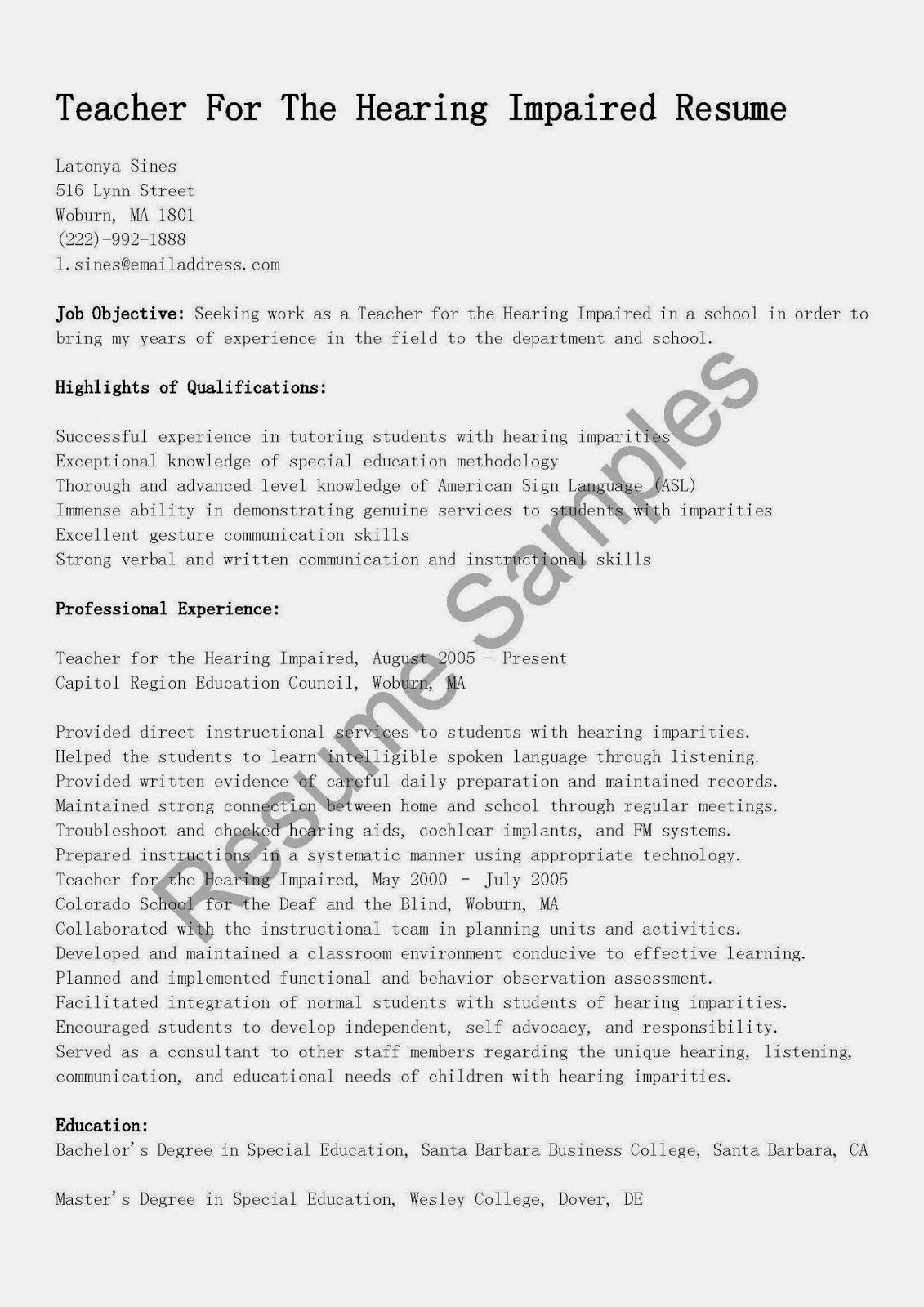 resume samples  teacher for the hearing impaired resume sample
