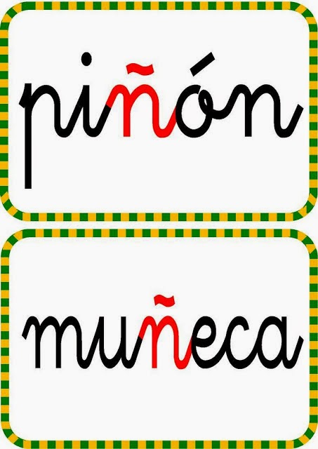 Palabras con ñ para niños con imagenes para imprimir | Para niños