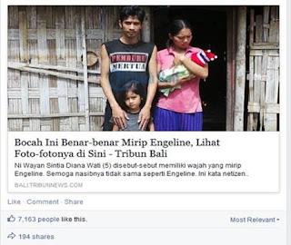 Beredar di Facebook Foto Bocah Cantik Mirip Dengan Wajah Engeline, Hebohkan Warga Bali
